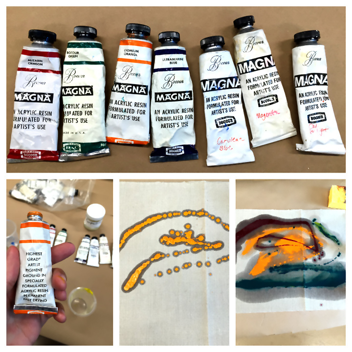 The stain-painting technique used by Helen Frankenthaler, and later by Washington Color School artists (counterclockwise from top): Magna paints (such as the vintage examples used here) were thinned out with turpentine and then poured across raw, unprimed canvas. Then, a sponge and felt-brush were used after each pour to push the wet paint across the surface. The haloing effect seen around each stain results from the turpentine that is used to thin out the paint, a step necessary for oil paints and the Magna brand of acrylic paint. This step would later become unnecessary with the introduction of new types of acrylic paint that eventually replaced Magna.