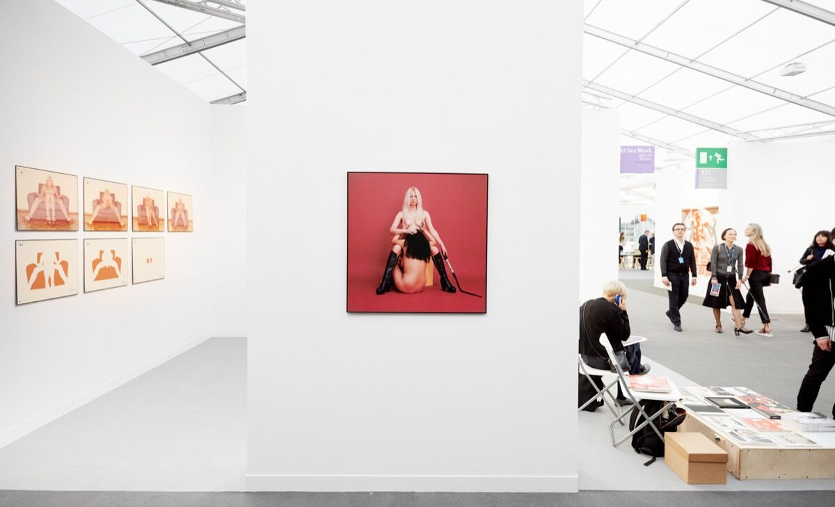 Installation view of Natalia Lach-Lachowicz, Velvet Terror, 1970, at Lokal_30's booth at Frieze London, 2017. Photo by Tom Carter for Artsy.