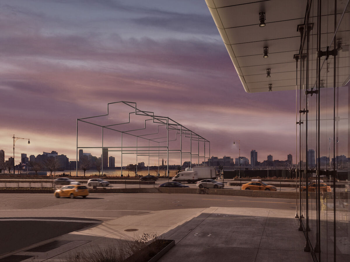 Rendering of the proposed project, Day's End  by David Hammons, as seen from the Whitney Museum of American Art. Courtesy Guy Nordenson and Associates.