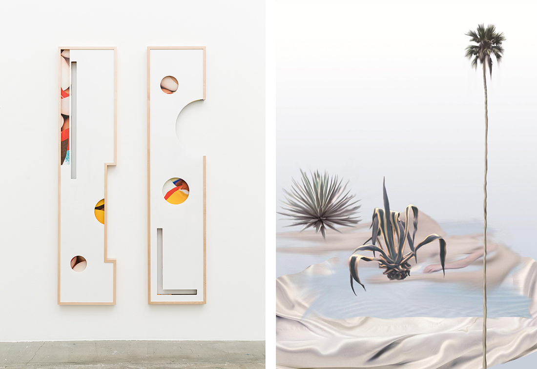 Kate Steciew, Composition, 2015. Courtesy of the artist and Anat Ebgi (left)Petra Cortright, Night Heat 19, 2013. Courtesy of the artist and Anat Ebgi (right)