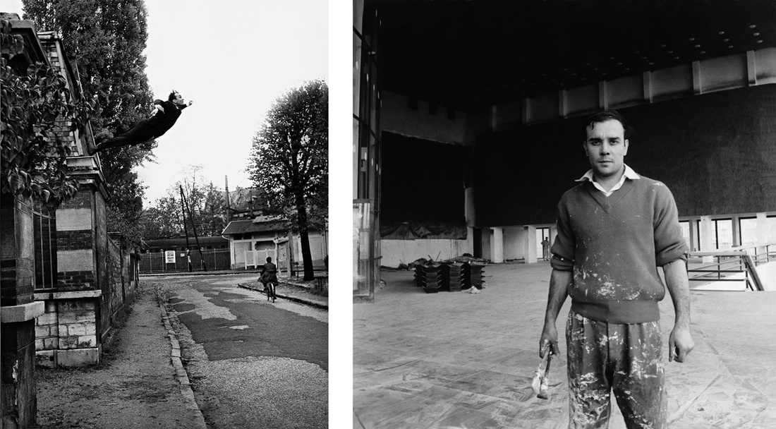 Left:Le Saut dans le vide, 5, rue Gentil-Bernard, Fontenay-aux-Roses, october 1960.  Artistic action by Yves Klein © Yves Klein, Artists Rights Society (ARS), New York / ADAGP, Paris, 2017. Collaboration Harry Shunk and Janos Kender © J.Paul Getty Trust. The Getty Research Institute, Los Angeles; Right: Yves Klein on the site of the Gelsenkirchen Opera House, Germany, 1959 Artwork © Yves Klein, Artists Rights Society (ARS), New York / ADAGP, Paris, 2017 Photo © Charles Wilp – BPK, Berlin.