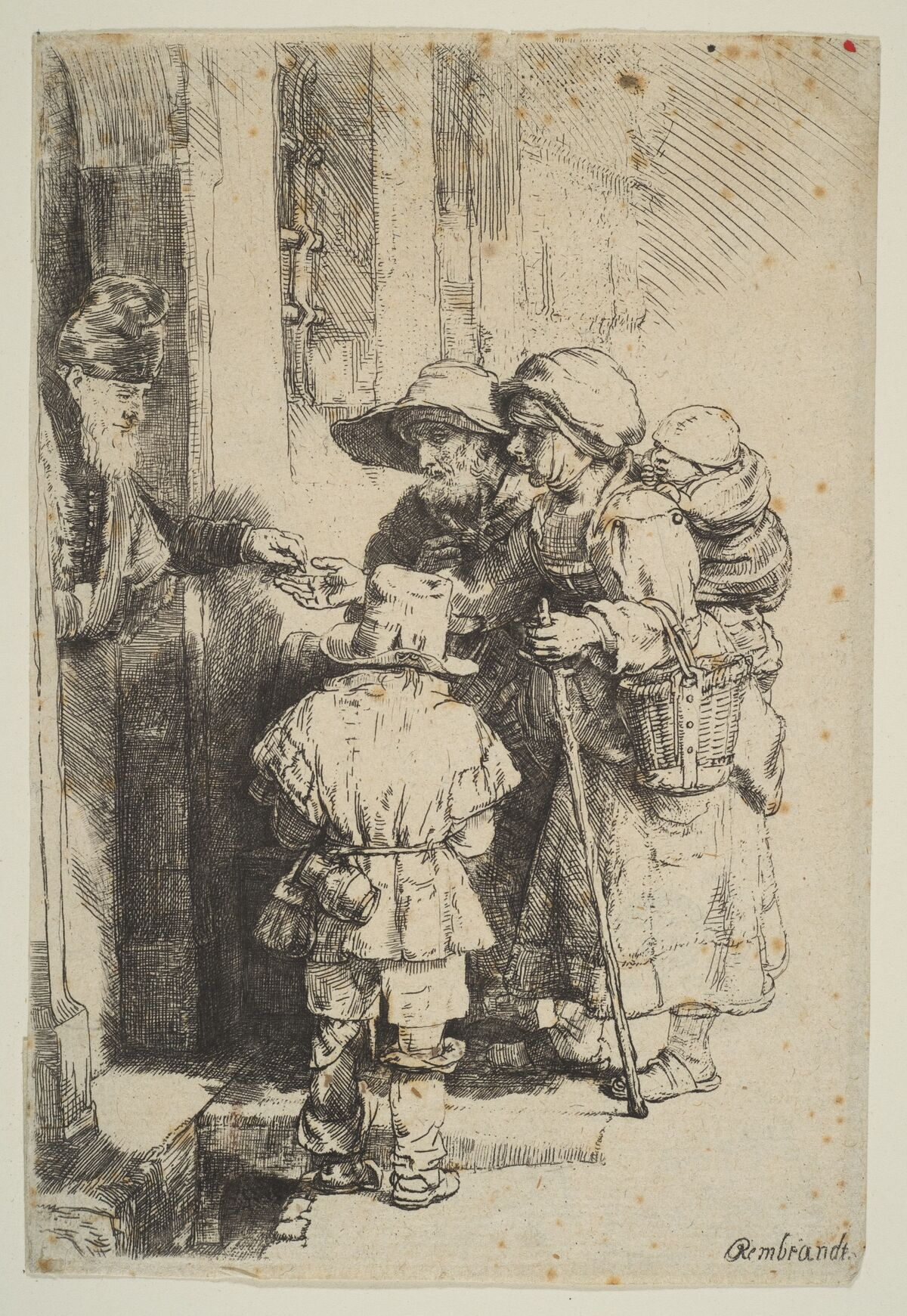 Rembrandt van Rijn, Beggars Receiving Alms at the Door of a House, 1648. Photo via The Metropolitan Museum of Modern Art.