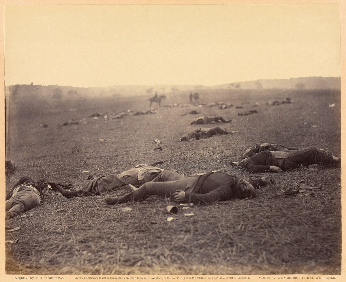 Timothy H. O'Sullivan, A Harvest of Death, 1863. Courtesy of the Getty Museum.