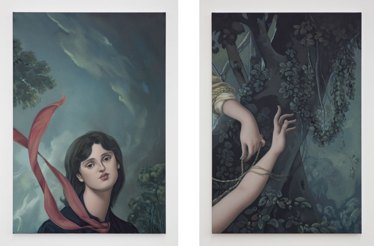 Left: Jesse Mockrin, The Stroll, 2016; Right: Jesse Mockrin, Moonage Daydream, 2015. Images courtesy of the artist and Night Gallery.