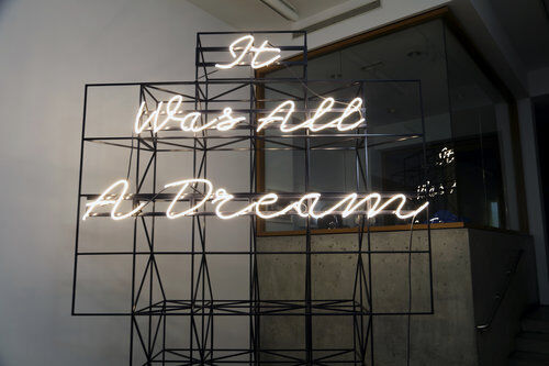 Matthew Sleeth, It Was All A Dream, 2016.  Neon and Steel, 126 x 95 x 32 inches. Courtesy of the Artist and Claire Oliver Gallery.