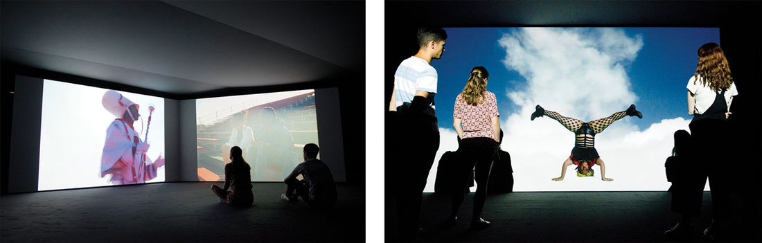 Left: Kahlil Joseph, m.a.a.d., 2014. Right:Jeremy Deller and Cecilia Bengolea,Bom Bom's Dream, 2016. Photos by Linda Nylind.Images courtesy ofHayward Gallery.