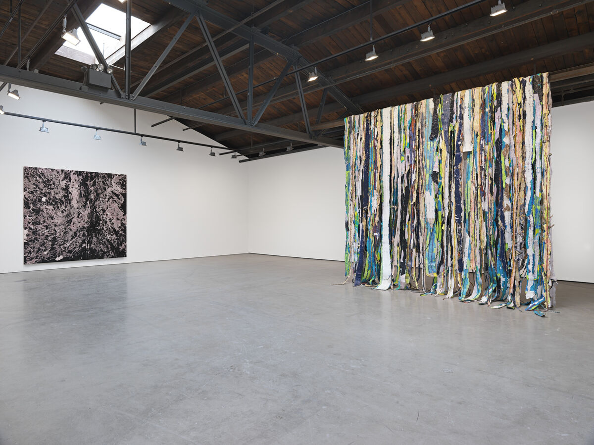 "Installation view of ""Mark Bradford: Be Strong Boquan"" at Hauser & Wirth New York, 18th Street, 2015. © Mark Bradford. Photo by Genevieve Hanson, courtesy of the artist and Hauser & Wirth."