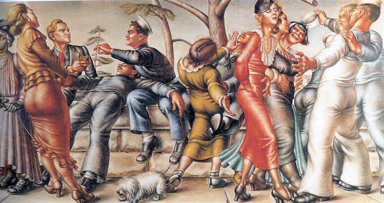 Paul Cadmus, The Fleet's In, 1934. © 2018 Jon F. Anderson, Estate of Paul Cadmus / Licensed by VAGA at Artists Rights Society (ARS), NY.