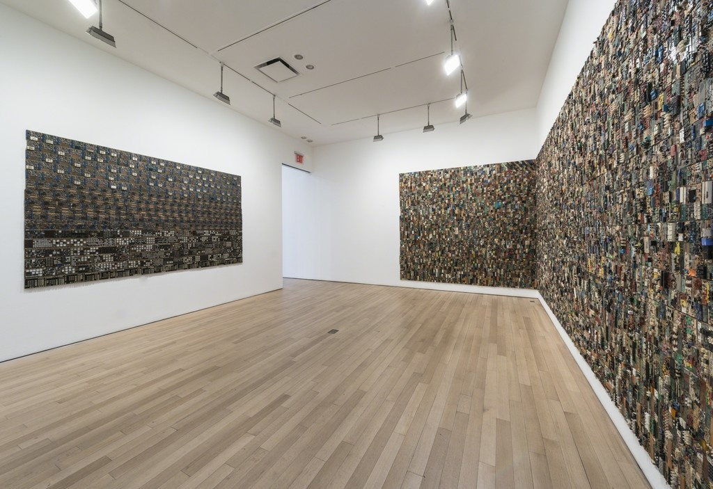 Installation view of Elias Sime at James Cohan Gallery, 2015. Photo by Adam Reich.