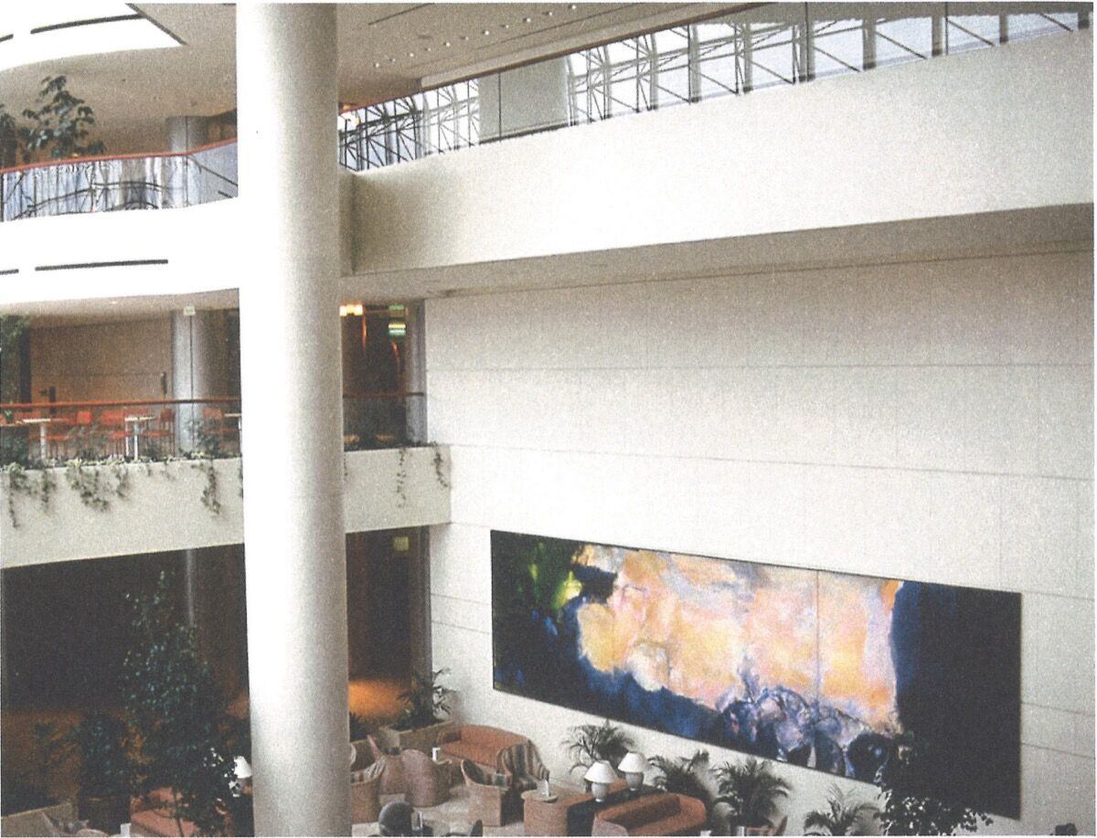 Installation view of Zao Wou-Ki,  Juin-Octobre 1985, 1985, at Raffles City, Singapore. © Fondation Zao Wou-Ki. Courtesy of Sotheby's.