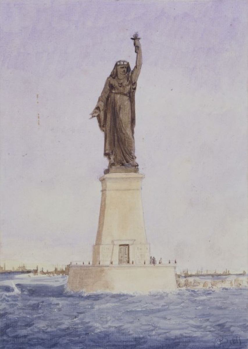 Watercolor of Bartholdi's proposed statue for the Suez Canal. Courtesy Musée Bartholdi, Colmar, France.