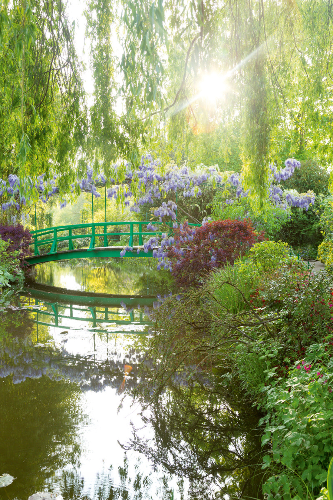 View of Monet's water garden and the Japanese footbridge, Giverny, France. Photo © Eric Sander.