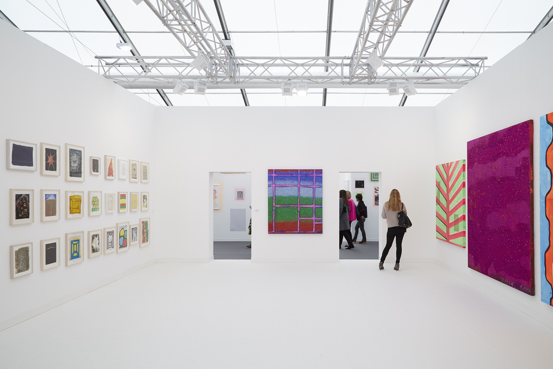 Installation view of Anton Kern's booth at Frieze London 2015. Photo by Benjamin Westoby for Artsy.
