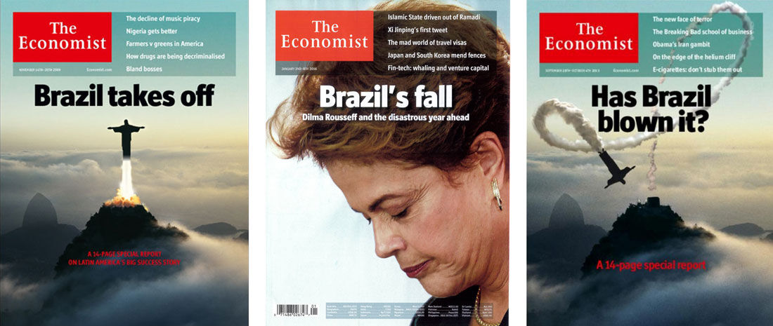 Covers of three issues of The Economist, left to right: Nov. 2009, Jan. 2016, and Sep. 2013.