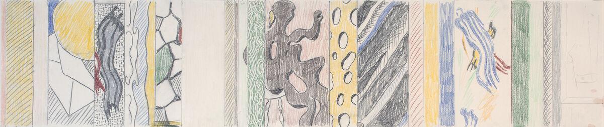 Roy Lichtenstein,Greene Street Mural (study), 1983.Graphite and colored pencil on paper,9 x 42 1/2 inches (23 x 108 cm).© Estate of RoyLichtenstein. Courtesy Gagosian Gallery.