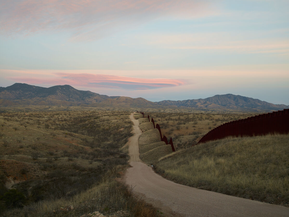 Richard Misrach, Wall, east of Nogales, Arizona, 2015, from Border Cantos (Aperture, 2016). © Richard Misrach. Courtesy Fraenkel Gallery, Pace/MacGill Gallery, and Marc Selwyn Fine Art.