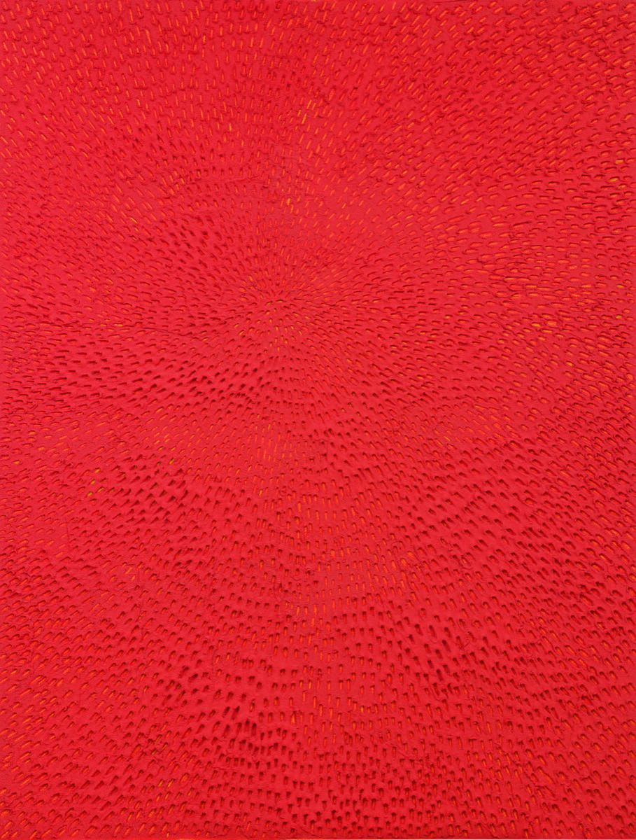 Jennifer Guidi, Untitled (Red Sand SF #1E, Yellow Ground), 2016. Courtesy of Sotheby's