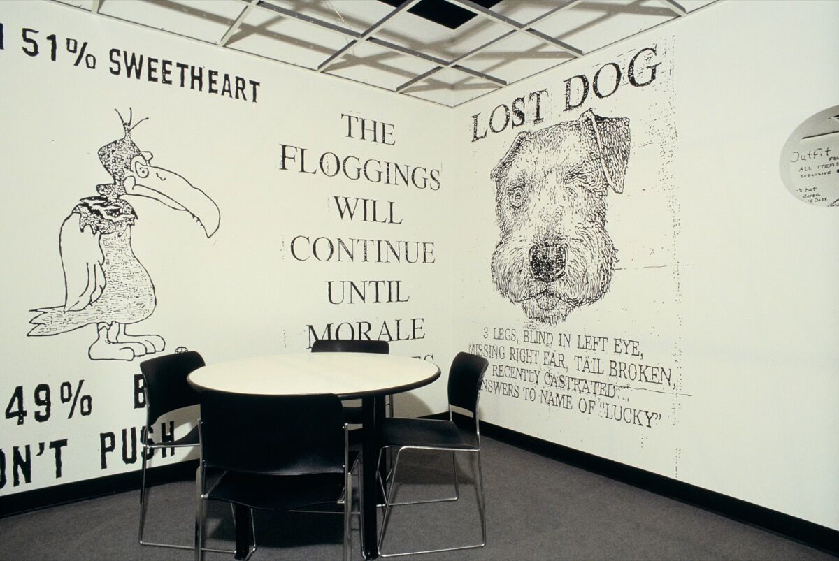 "Installation view of Mike Kelley, Proposal for the Decoration of an Island of Conference Rooms (With Copy Room) For an Advertising Agency Designed By Frank Gehry, 1991, in ""Helter Skelter: L.A. Art in the 1990s,"" Museum of Contemporary Art, Los Angeles, 1992. © Mike Kelley Foundation for the Arts. Licensed by VAGA, New York, NY. Photo by Paula Goldman/MOCA. Courtesy of the Mike Kelley Foundation for the Arts."