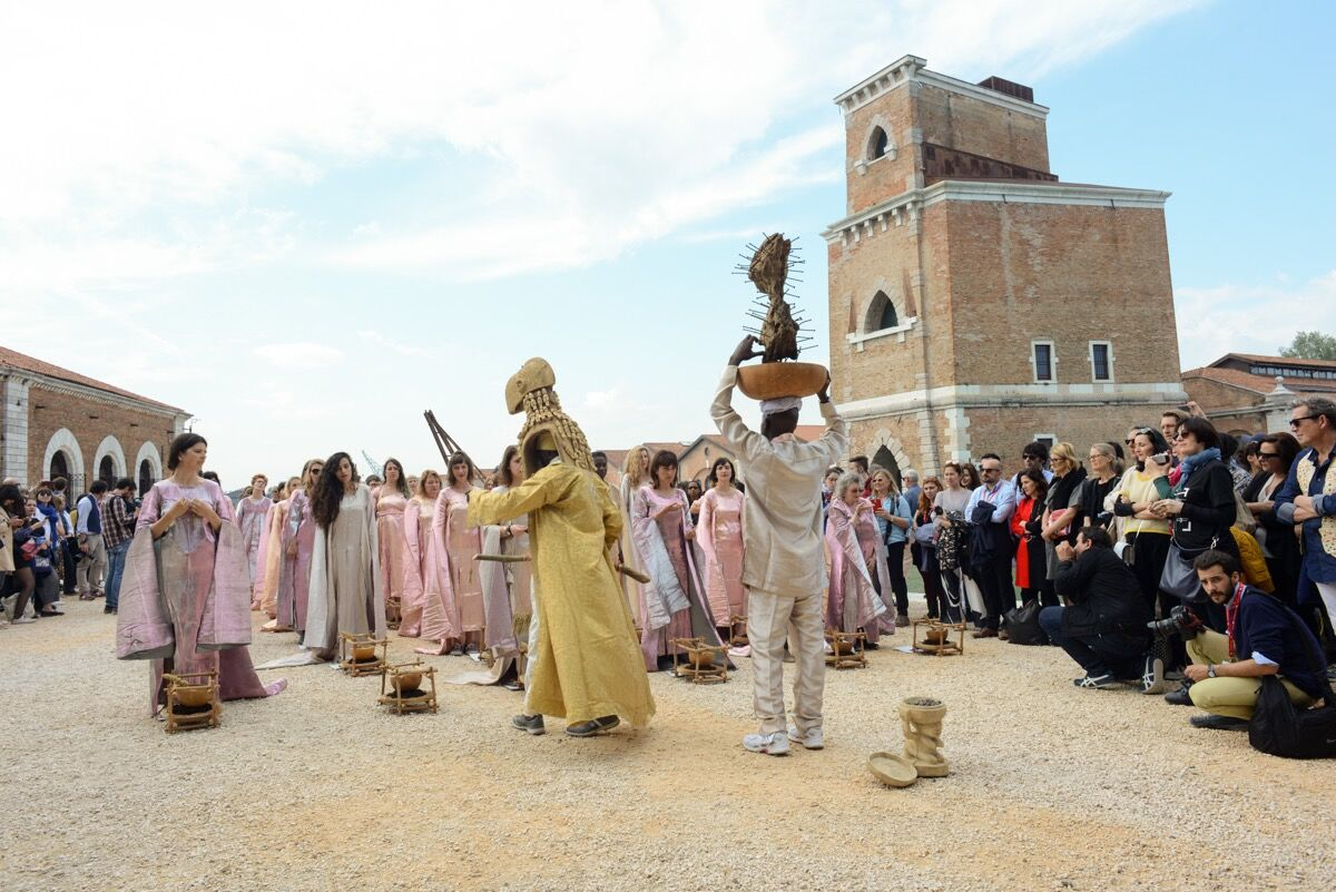 A Nigerian performance piece at the Arsenale for the 57th Venice Biennale, 2017. Photo by Casey Kelbaugh for Artsy.