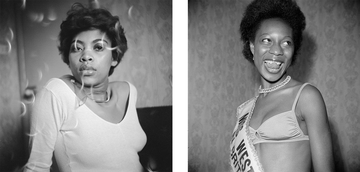 Left: Raphael Albert, Holley posing at Blythe Road, early 1970s. © Raphael Albert/Autograph ABP. Right: Raphael Albert, (unidentified) Miss West Indies in Great Britain contestant posing at Blythe Road, 1970s. © Raphael Albert/Autograph ABP.