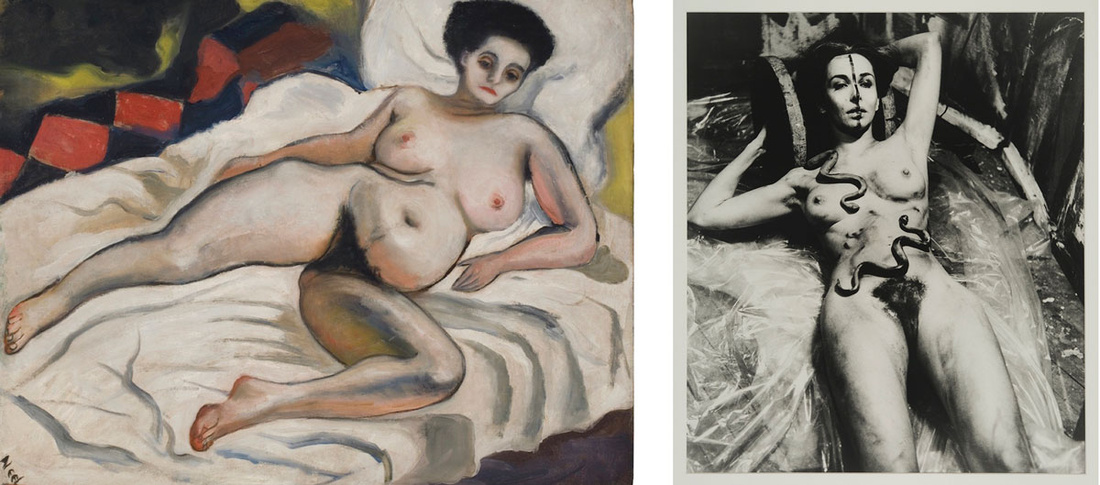 Left: Alice Neel, Nadya Nude, 1933. Courtesy of the Estate of Alice Neel; Right: Carolee Schneemann, Eye Body (From 36 Transformative Actions for Camera), 1963/1985. Photo by Erro, courtesy of P.P.O.W. and private collection.Images courtesy of Maccarone.