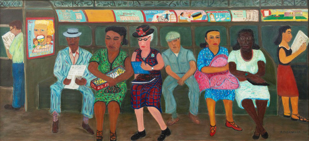 Ralph Fasanella, Subway Riders, 1950. From the collection of the American Folk Art Museum, Gift of Ralph and Eva Fasanella. Photo by Adam Reich, courtesy of the American Folk Art Museum.