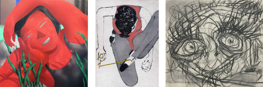 Left: Jordan Kasey, woman with plants, 2015; Center:Lenz Geerk, CLOSER II,2015Lenz Geerk; Right: Anthony Miler, Untitled, 2016.Images courtesy ofThierry Goldberg Gallery.