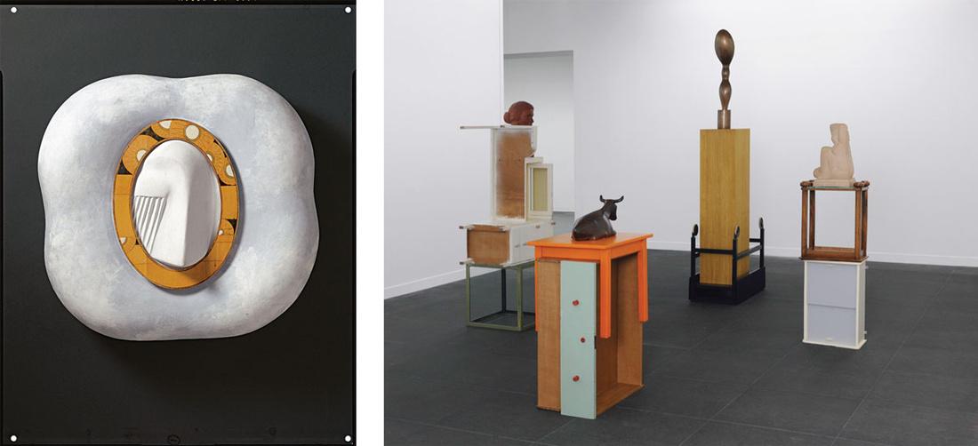 Left:Meret Oppenheim, A Face in a Cloud,1971.© Meret Oppenheim, VEGAP, Bilbao, 2016. Right:Florian Slotawa, Bernese Pedestals (Berner Sockel), 2010.© Florian Slotawa, VEGAP, Bilbao, 2016. Photoscourtesy ofHermann und Margrit Rupf-Stiftung, Kunstmuseum Bern.