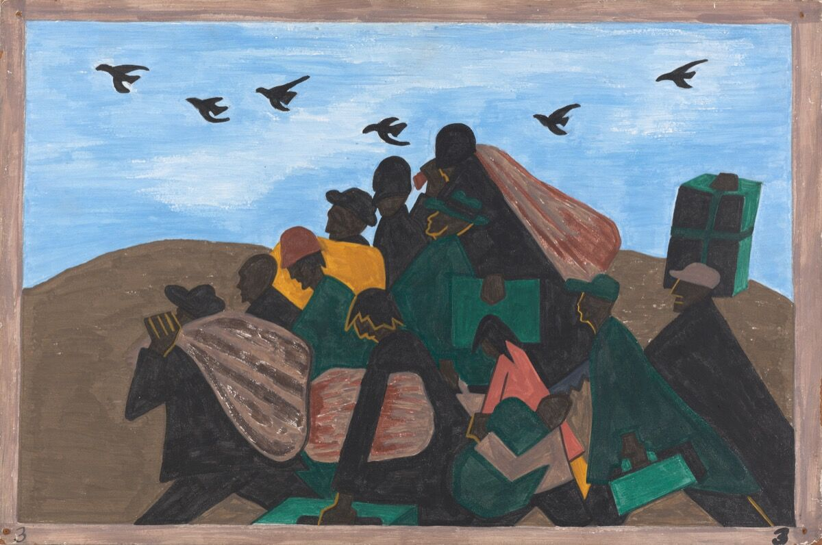 Jacob Lawrence, The Migration Series, Panel no. 3: From every southern town migrants left by the hundreds to travel north1940–1941. © The Jacob and Gwendolyn Lawrence Foundation, Seattle / Artists Rights Society (ARS), New York. Courtesy of The Philips Collection.