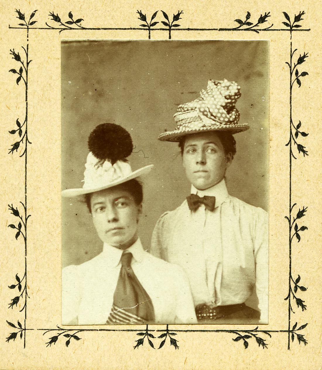 Alice Austen and Gertrude Tate, Pickards Penny Photo Studio, Stapleton Staten Island, c. 1905. Courtesy of Alice Austen House.