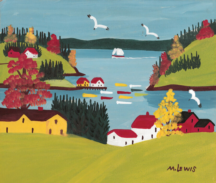 Maud Lewis, Coastal Scene with Gulls, 1960s. Courtesy of the Art Gallery of Nova Scotia.