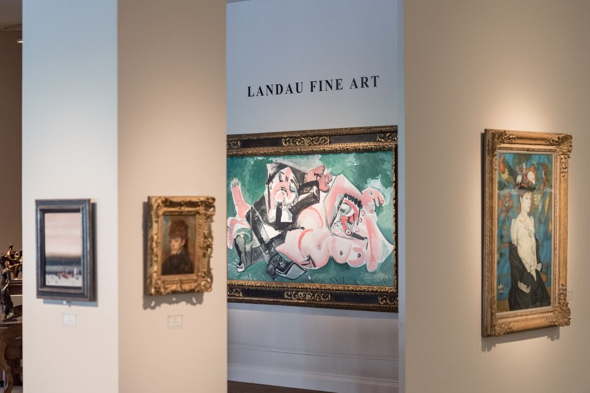 Installation view of Landau Fine Art's booth at Masterpiece London, 2018. Photo by Ben Fisher. Courtesy of Masterpiece London 2018.