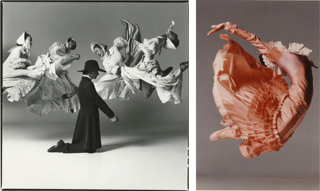 Left: Pascal Rioult and chorus in Appalachian Spring; Right: Joyce Henning in Appalachian Spring. Photos by Lois Greenfield, courtesy of the Martha Graham Dance Company.
