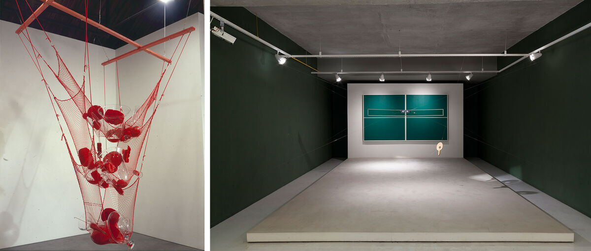 Left: Tunga, True Rouge (Roger Wright), 1997. Photo by Tunga. Right: Waltercio Caldas, Ping-ping, o abismo no piscar dos cegos, 1980. Photo by Isabella Matheus. Roger Wright Collection, on loan to the Pinacoteca do Estado de São Paulo.