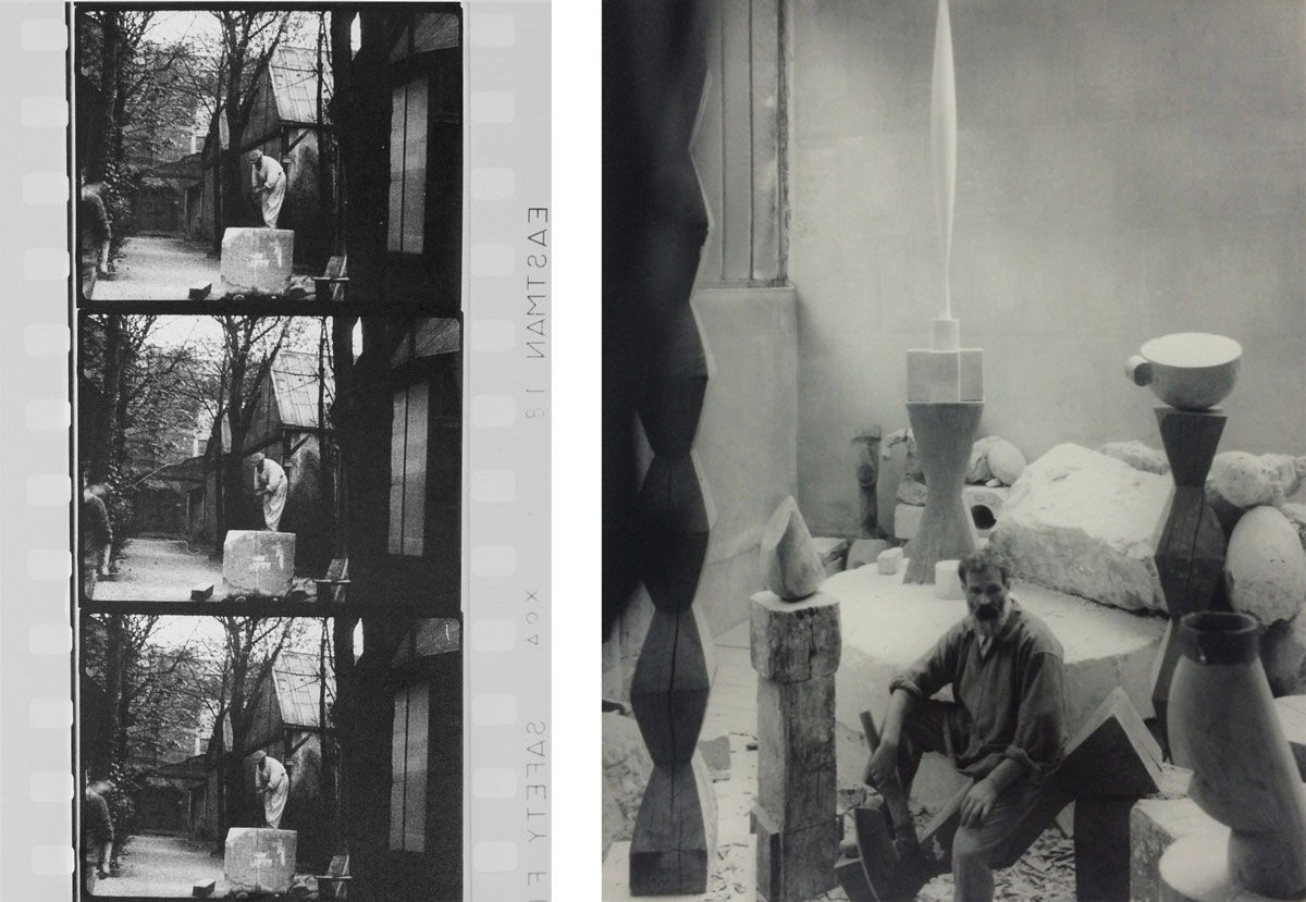 Left: Constantin Brancusi sawing a block of limestone for the chimney, Impasse Ronsin, 1932. © Succession Brancusi - All rights reserved ADAGP, Paris/Artist Rights Society (ARS), New York. Photo courtesy of Paul Kasmin Gallery; Right: Edward Steichen, Brancusi in his studio. Image courtesy of see+ Gallery, Beijing.