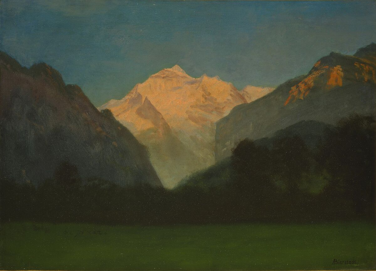 Albert Bierstadt, View of Glacier Park or Sunset on Peak, date unknown. Image via Wikimedia Commons.