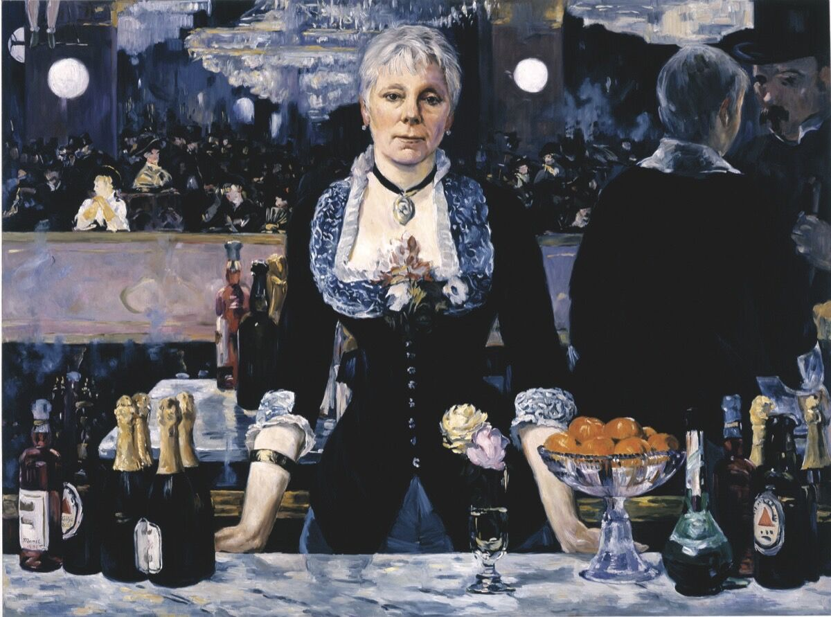 Kathleen Gilje,Linda Nochlin in Manet's Bar at the Folies-Bergère, 2006, oil on linen, 37 x 51 inches. Image courtesy of Francis M. Naumann Fine Art, New York.