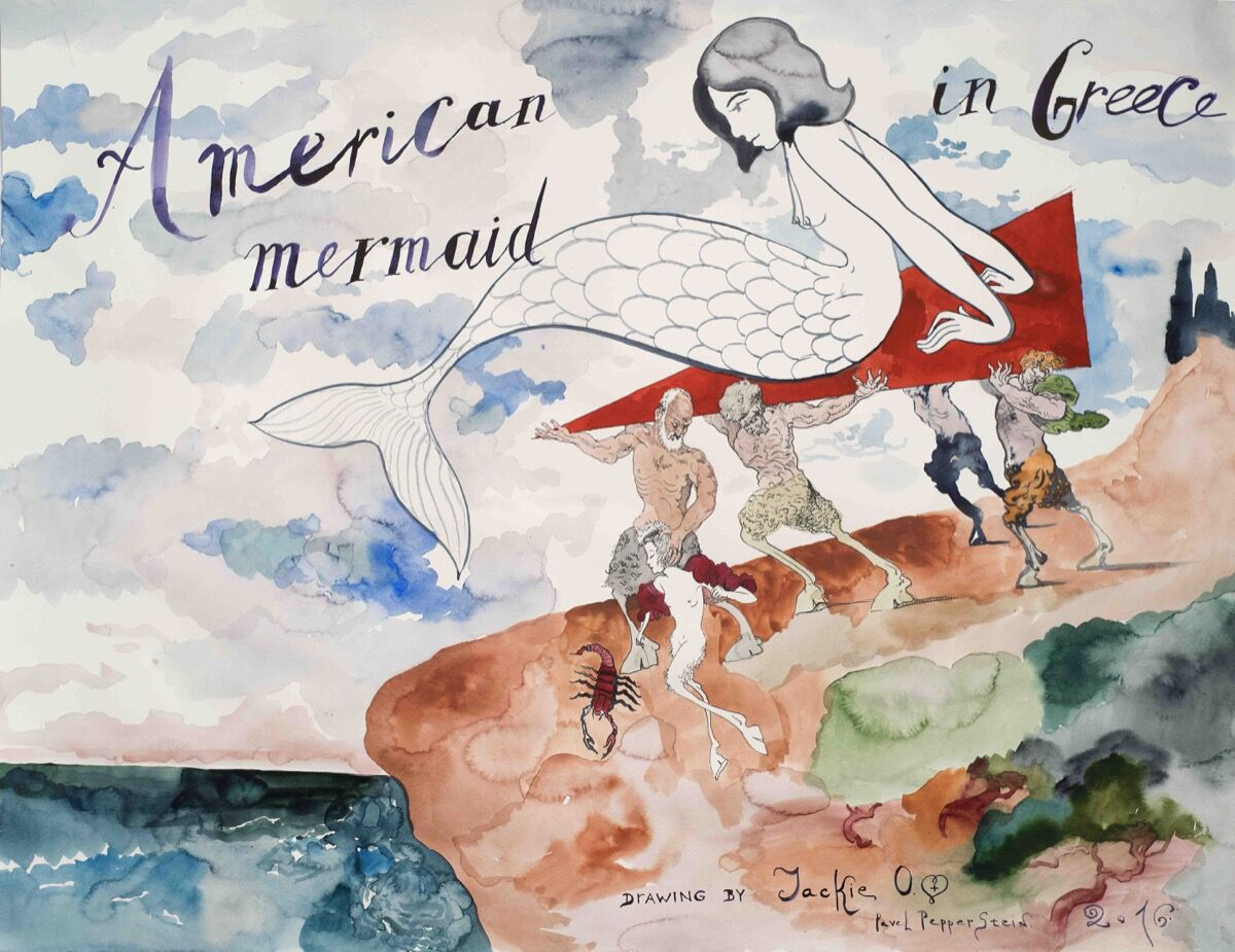 Pavel Pepperstein,American Mermaid in Greece, 2016. Courtesy of Julie Saul Gallery.