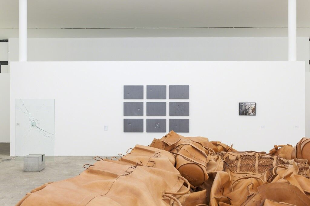"Installation view of Clara Ianni, 'Still Life or Study for Vanishing Point,' in ""Fire and Forget. On Violence"" at KW Institute for Contemporary Art, Berlin."