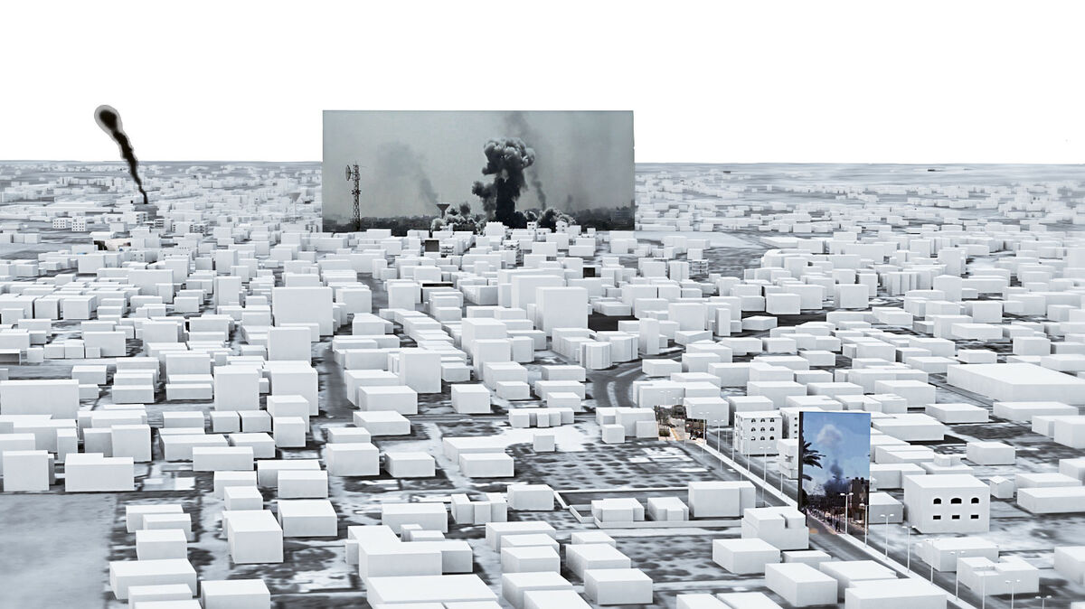 The architectural image complex. The three-dimensional model provided us with a means of composing the relations between multiple images and clips and an optical device to navigate between them. The smoke clouds were used as the anchors that connect the multiple sources. Courtesy of Forensic Architecture.