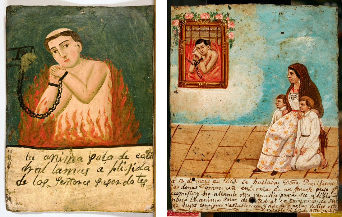 Left: The Lost Soul. Betty Byerley Collection, Museum of the Big Bend, Sul Ross State University, Alpine, Texas. Photo by Jim Bones; Right: Ex-voto by unknown painter (Mexican, 19th century). Image courtesy of El Paso Museum of Art.