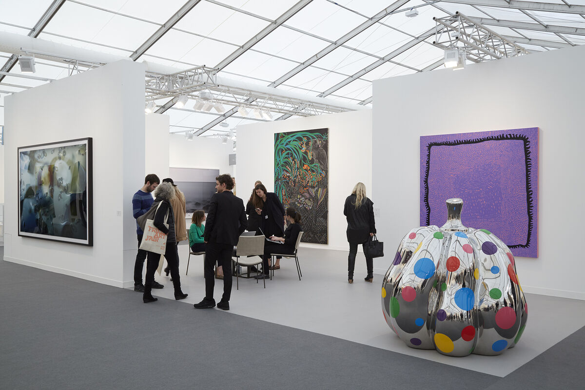 Installation view of David Zwirner's booth at Frieze London, 2015. Photo by Benjamin Westoby for Artsy.