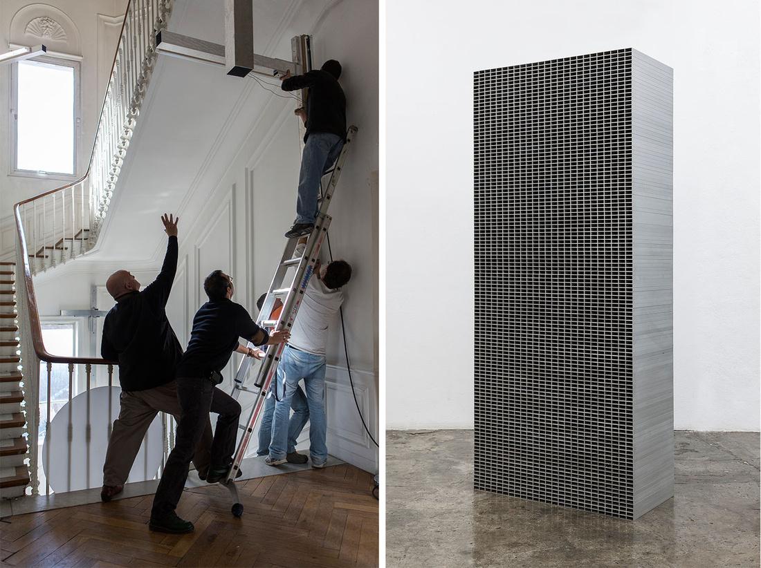 Left:Pedro Cabrita Reis, Installation of the artwork. Right:Compound #5, 2006. Both images© PCRSTUDIO / João Ferro Martins, courtesy Kewenig, Berlin.