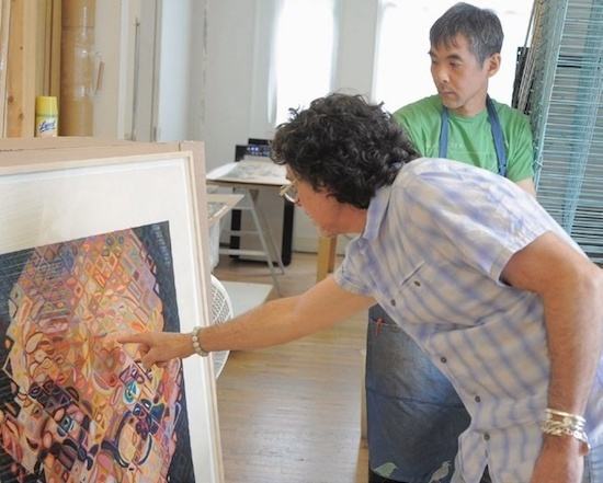 Printers Karl Hecksher and Yasu Shibata at the Pace Editions workshop in Manhattan. Courtesy of Pace Prints.