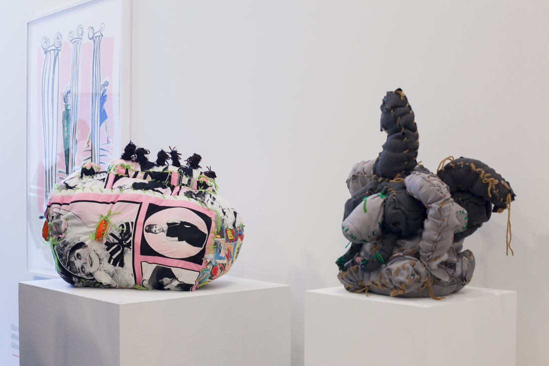 Work by Ella Kruglyanskaya and Terry Williamsat White Columns, Independent 2015. Photo by Nick Simmons for Artsy
