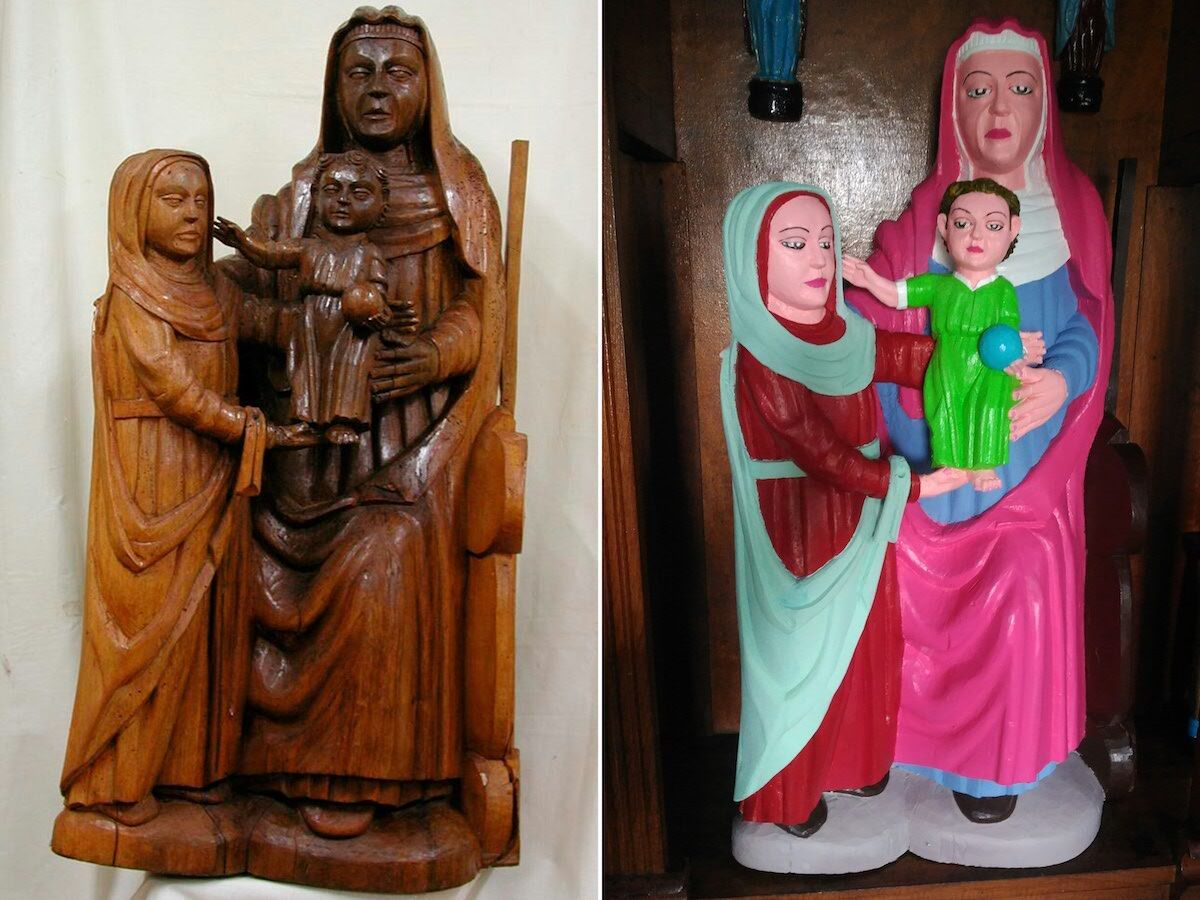 A Romanesque period statue depicting Virgin Mary before and after being 'restored' by a local woman of the village of El Rañadoiro, Asturias region, Spain. Photo by DSF/AFP/Getty Images.