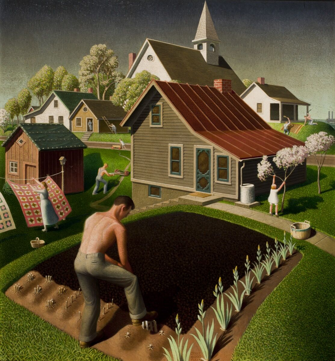 Grant Wood, Spring in Town, 1941. Swope Art Museum, Terre Haute, Indiana. © Figge Art Museum, successors to the Estate of Nan Wood Graham/Licensed by VAGA, New York, NY.