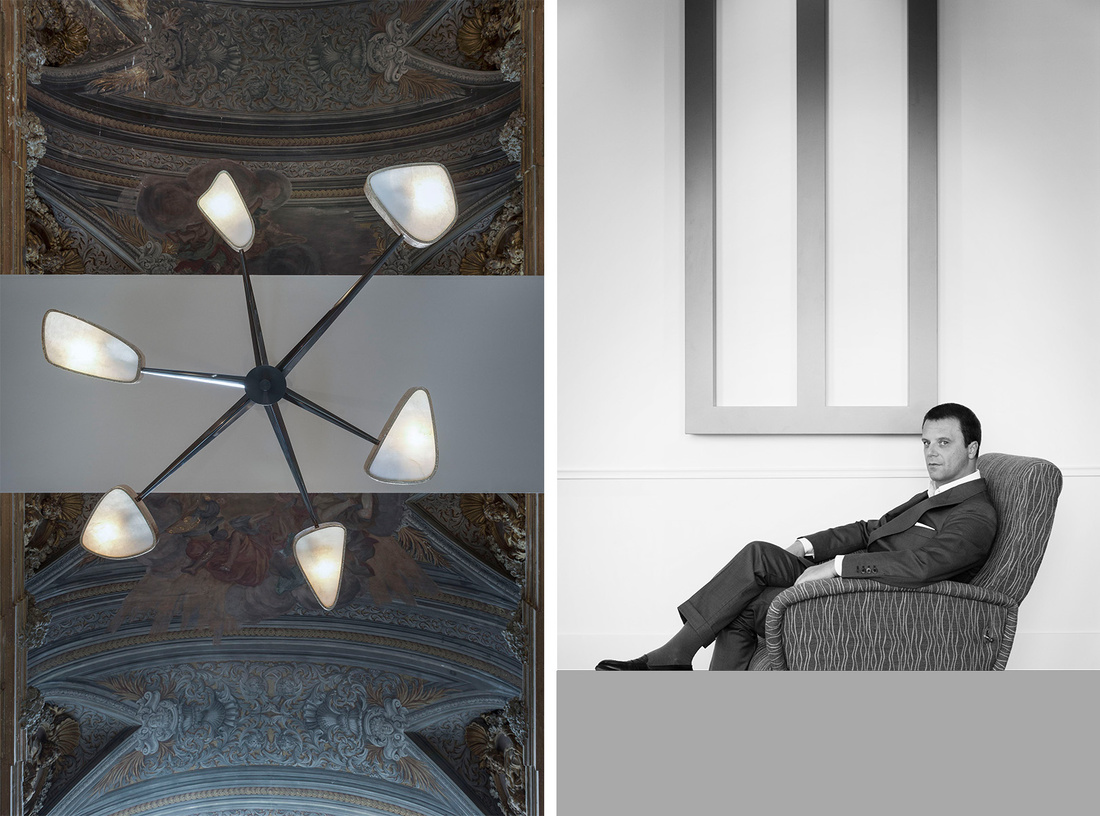 Achille Salvagni's Spider Chandelier in his Rome showroom, courtesy of Maison Gerard and the designer. Photo by Paolo Petrignani; Portrait of Achille Salvagni, courtesy of Maison Gerard and the designer. Photo by Serena Laudisa