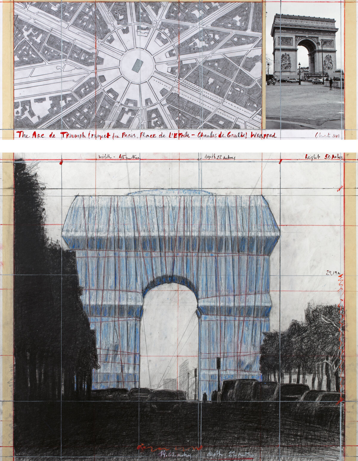 Christo, The Arc de Triumph (Project for Paris, Place de l'Etoile – Charles de Gaulle) Wrapped, 2018. Photo by André Grossmann, © 2018 Christo.