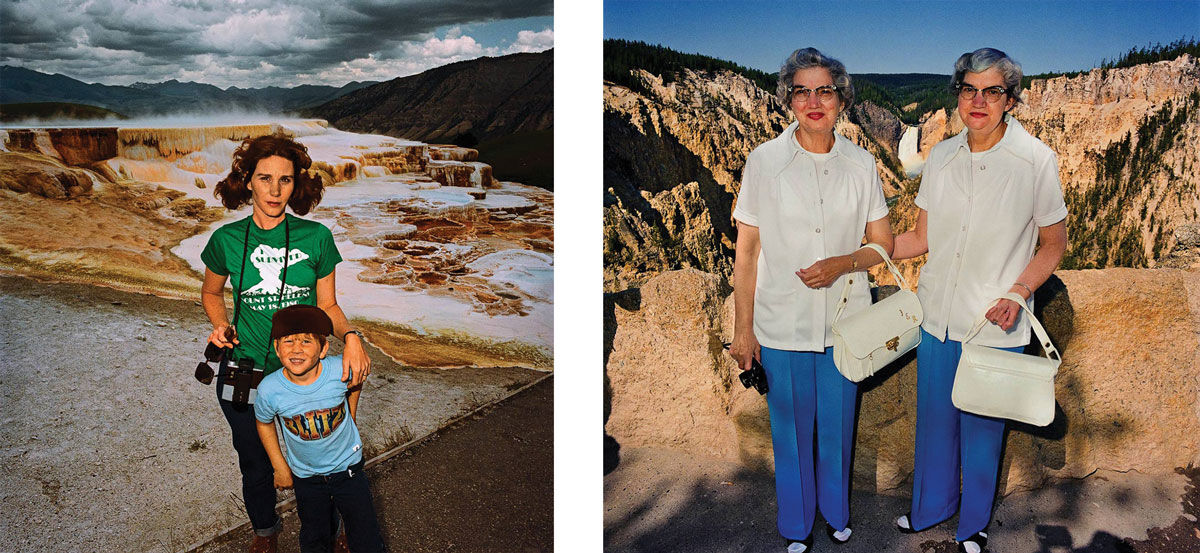 Left: Roger Minick, Mother and Son at Minerva's Terrace, Yellowstone National Park, Wyoming, 1980. Right: Roger Minick, Twins with Matching Outfits at Lower Falls Overlook, Yellowstone National Park,       Wyoming, 1980. © Roger Minick. Images courtesy of Jan Kesner Gallery, Los Angeles.
